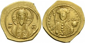 Theodora, 11 January 1055 – 31 August 1056. Tetarteron 1055–1056, AV 3.97 g. Nimbate bust of Christ facing, wearing pallium and colobium, raising r. h...