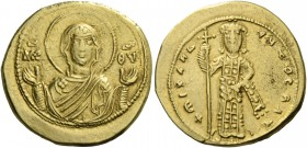 Michael VI Stratioticus, 1056 - 1057. Tetarteron 1056-105, AV 4.08 g. Facing bust of the Virgin, nimbate and orans, wearing tunic and maphorion; in fi...