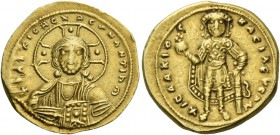 Isaac I Comnenus, 1 September 1057 – 22 November 1059. Tetarteron 1057–1059, AV 4.05 g. +IhS XIS DCX REGNANTIhm Facing bust of Christ, with decorated ...