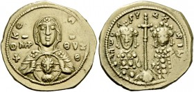 Romanus IV Diogenes, 1 January 1068 – September 1071 and associate rulers. Tetarteron 1068-1071, AV 4.06 g. +ΘKE – ROHΘ Facing bust of the Virgin, wea...