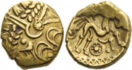 Belgic Gaul, Suessiones. Stater 2nd to 1st century BC, AV 6.04 g. Stylised human head. Rev. Stylised horse r. above crescent and below, wheel. D&T 167...