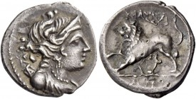 Gallia, Massalia. Drachm circa 150-100, AR 2.55 g. Diademed and draped bust of Artemis r., with bow and quiver over shoulder. Rev. Lion advancing l. w...