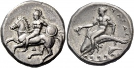 Calabria, Tarentum. Nomos circa 344-340, AR 7.09 g. Helmeted horseman l., holding spear and shield; below, Δ. Rev. Dolphin rider l., holding cantharus...