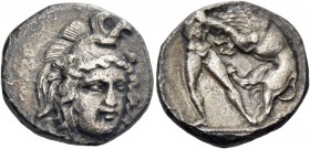 Lucania, Heraclea. Nomos circa 390-340, AR 6.83 g. Helmeted head of Athena facing three-quarters r. Rev. Heracles standing r., strangling the Nemean l...