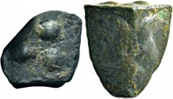 Sicily, Agrigentum. Cast Tetras or Trionkion circa 450-440, Æ 20 mm., 12.93 g. Two eagle foreparts back-to-back. Rev. Crab. Three pellets (mark of val...