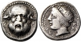 Catana. Drachm circa 410-405, AR 4.12 g. Head of Silenus facing. Rev. Head of river-god Amenanos l. de Luynes 905. SNG Lloyd 909. SNG ANS 1262. Extrem...