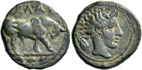 Gela. Tetras circa 420-405, Æ 3.62 g. Bull standing r.; in exergue, three pellets. Rev. Head of river-god r., hair flowing behind; in l. field, grain....