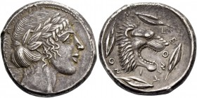 Leontini. Tetradrachm circa 455-450, AR 17.44 g. Laureate head of Apollo r. Rev. Lion's head r., with jaws open and tongue protruding; around, four ba...