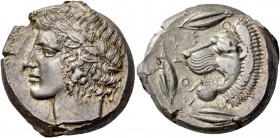 Leontini. Tetradrachm circa 430-425, AR 17.19 g. Laureate head of Apollo l. Rev. Lions' head l., with open jaws and protruding tongue; around, three b...