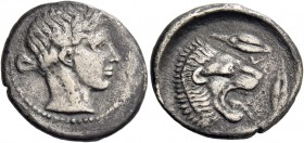 Leontini. Drachm circa 430-425, AR 3.99 g. Laureate head of Apollo r. Rev. Lions' head r., with open jaws and protruding tongue; around, three barley ...