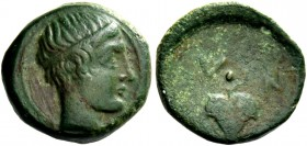 Naxos. Oncia circa 420-403, Æ 1.57 g. Diademed and wreathed youthful head r. Rev. Vine leaf; below, pellet. Campana 37 (this coin listed). Cahn 48. Ca...