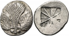 Selinus. Didrachm circa 540-515, AR 8.54 g. Selinon leaf; at base of stem, two pellets. Rev. Incuse mill sail pattern. SNG ANS 667. Arnold-Biucchi Gro...