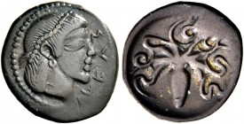 Syracuse. Litra circa 470, AR 0.75 g. ΣVPA Pearl-diademed head of Arethusa r. Rev. Octopus. SNG ANS 138 (this obverse die). Boehringer 451. Old cabine...
