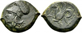 Syracuse. Litra circa 405-367, Æ 7.38 g. Head of Athena l., wearing Corinthian helmet decorated with wreath. Rev. Hippocamp l. SNG ANS 434. Calciati 4...