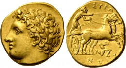 Syracuse. Decadrachm, circa 317-310, AV 4.30 g. Laureate head of Apollo l.; behind head, Σ. Rev. Prancing biga driven r. by charioteer holding reins a...