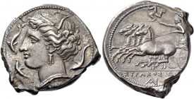 Syracuse. Tetradrachm circa 310-305, AR 16.90 g. Head of Kore-Persephone l., wearing barley wreath, triple-pendant earring and necklace; beneath neck ...