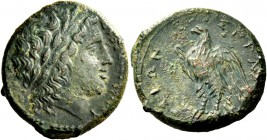 Syracuse. Bronze 287-278, Æ 8.87 g. Laureate head of young Zeus r. Rev. Eagle standing l. on thunderbolt. SNG ANS 799 var. (with A on reverse). Calcia...