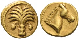 The Carthaginians in Sicily and North Africa. 1/10 stater, Carthago circa 350-320 BC, AV 0.76 g. Palm tree. Rev. Horse's head r. Boston 500. Jenkins-L...
