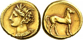 The Carthaginians in Sicily and North Africa. Stater circa 310-290 BC, EL 7.61 g. Head of Tanit-Persephone l., wearing barley-wreath, bar and triple p...