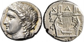 Olynthus, Chalcidian League. Tetradrachm circa 410-410, AR 14.39 g. Laureate head of Apollo l. Rev. Seven-stringed cithara. Robinson-Clement 64. Lovel...
