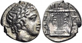 Olynthus, Chalcidian League. Tetrobol circa 410-401, AR 2.03 g. Laureate head of Apollo r. Rev. Seven-stringed cithara. Robinson-Clement 66. SNG ANS 5...