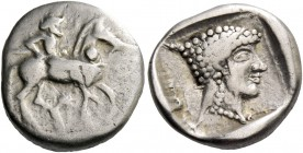 Potidaea. Tetrobol 480, AR 2.84 g. Poseidon Hippios on horseback advancing r. and carrying trident. On the neck of the horse, dot and below, pellet. R...