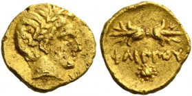 Kings of Macedonia, Philip II 359 – 336 and posthumous issues. 1/12 stater, Pella circa 345-342 BC, AV 0.67 g. Laureate head of Apollo r. Rev. Thunder...