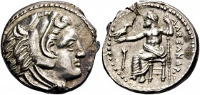 Alexander III, 336 – 323 and posthumous issues. Drachm, Amphipolis circa 336-323, AR 4.29 g. Head of Heracles r., wearing lion skin headdress. Rev. Ze...