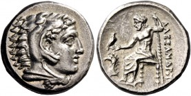 Alexander III, 336 – 323 and posthumous issues. Drachm, Sardes circa 334-323, AR 4.29 g. Head of Heracles r., wearing lion skin headdress. Rev. Zeus s...