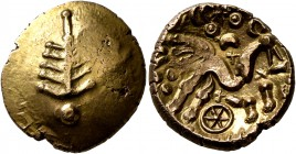 CELTIC, Britain. Dobunni. Corio, circa 30-15 BC. Stater (Gold, 18 mm, 5.47 g, 8 h). Stylized tree with pellet at base. Rev. COR[IO] Celticized horse t...