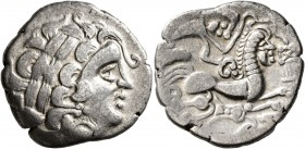 CELTIC, Northwest Gaul. Aulerci Diablintes. Circa 100-50 BC. Stater (Silver, 22 mm, 6.12 g, 7 h), 'à la situle' type. Celticized laureate head of Apol...