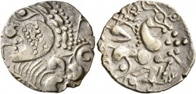 CELTIC, Northwest Gaul. Aulerci Eburovices. Late 2nd to first half of 1st century BC. Half Stater (Electrum, 19 mm, 2.74 g, 11 h), 'au loup' type. Cel...