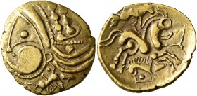 CELTIC, Northwest Gaul. Aulerci Eburovices. Late 2nd to first half of 1st century BC. Half Stater (Electrum, 19 mm, 3.24 g, 12 h), 'au sanglier' type....