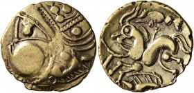 CELTIC, Northwest Gaul. Aulerci Eburovices. Late 2nd to first half of 1st century BC. Half Stater (Electrum, 18 mm, 2.84 g, 1 h), 'au sanglier' type. ...