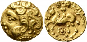 CELTIC, Northwest Gaul. Carnutes. 3rd to mid 2nd century BC. Quarter Stater (Gold, 12 mm, 2.07 g, 5 h), 'à la cavalière sans bras' type. Celticized he...