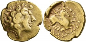 CELTIC, Northwest Gaul. Carnutes. 2nd to early 1st century BC. Stater (Electrum, 20 mm, 7.34 g, 8 h), 'au profil luniforme et à la joue lisse' type. C...