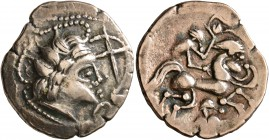 CELTIC, Northwest Gaul. Namnetes. Late 2nd to mid 1st century BC. Stater (Electrum, 22 mm, 7.11 g, 1 h), 'a l'hippophore - à la croix' type. Celticize...