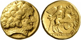 CELTIC, Northwest Gaul. Uncertain tribe. 3rd to first half of 2nd century BC. Quarter Stater (Gold, 12 mm, 2.00 g, 8 h), 'type oiseau-chaudron'. Celti...