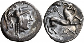 CELTIC, Northwest Gaul. Uncertain tribe. Circa 50-25 BC. Quinarius (Silver, 14 mm, 1.09 g, 10 h), 'à la tête de Pallas' type. Celticized head of Athen...