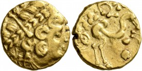 CELTIC, Northeast Gaul. Ambiani. Late 2nd to mid 1st century BC. Stater (Gold, 17 mm, 7.59 g, 2 h), 'statère biface au flan court' type. Celticized la...