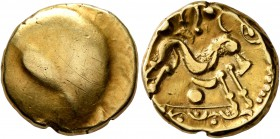CELTIC, Northeast Gaul. Ambiani. Circa 60-30 BC. Stater (Gold, 16 mm, 6.17 g), 'statére uniface' type. Irregular blank convex surface. Rev. Celticized...