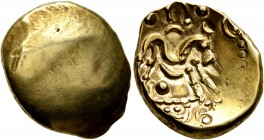 CELTIC, Northeast Gaul. Ambiani. Circa 60-30 BC. Stater (Gold, 18 mm, 6.15 g). Blank convex surface. Rev. Celticized horse galloping to right, horsema...