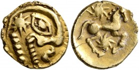 CELTIC, Northeast Gaul. Bellovaci. Circa 60-30/25 BC. Quarter Stater (Gold, 12 mm, 1.51 g, 1 h), 'à l'astre' type. Devolved and disjointed male head t...