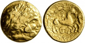 CELTIC, Northeast Gaul. Caleti. 2nd century BC. Half Stater (Gold, 15 mm, 4.02 g, 7 h), 'type nord-armoricain - à la roue'. Celticized laureate male h...