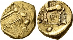 CELTIC, Northeast Gaul. Remi. Late 2nd to mid 1st century BC. Stater (Electrum, 18 mm, 6.15 g, 5 h), 'à l'oeil' type. Devolved and disjointed laureate...