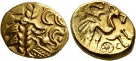 CELTIC, Northeast Gaul. Suessiones. Late 2nd to mid 1st century BC. Stater (Gold, 18 mm, 6.08 g, 4 h), 'à l'ancre' type. Devolved laureate head of Apo...