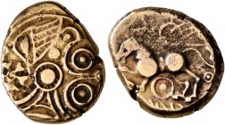 CELTIC, Northeast Gaul. Suessiones. Late 2nd to mid 1st century BC. Stater (Electrum, 17 mm, 5.90 g), 'statère dérivé du type à l'oeil'. Devolved and ...