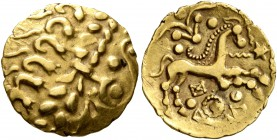 CELTIC, Northeast Gaul. Uncertain tribe. Circa 60-30/25 BC. Quarter Stater (Gold, 15 mm, 1.55 g, 1 h), 'dérivées locales du statère biface' type. Devo...