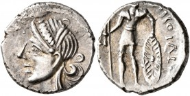 CELTIC, Central Gaul. Aedui. Circa 60-50 BC. Quinarius (Silver, 14 mm, 1.97 g, 9 h), Viipotal. Diademed female head to left. Rev. [V]IIPOTAL Warrior s...