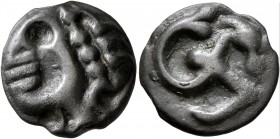 CELTIC, Central Gaul. Aedui. Circa 60-50 BC. Cast unit (Potin, 16 mm, 3.54 g), 'potin au cheval marin - au bandeu perlé' type. Stylized male head to l...